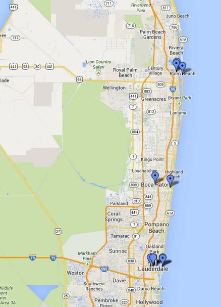 Google Maps - Miami a West Palm Beach