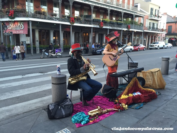 Artistas de rua jazz French Quarter New Orleans
